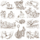 Tea Processing. Agriculture. An hand drawn illustration. Royalty Free Stock Photos