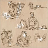 Tea Processing. Agriculture. An hand drawn vector illustration. Stock Photography