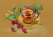 Tea and raspberry. Lovely tea and raspberry painted watercolor Stock Photo