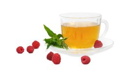 Tea with raspberry and spearmint Royalty Free Stock Photos