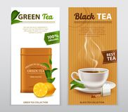 Tea Realistic Advertisement Banners Set. Black and green high quality organic tea advertisement 2 realistic vertical banners with fresh leaves vector Royalty Free Stock Image