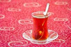 Tea on red Royalty Free Stock Image