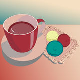 Tea in red cup with cookies Royalty Free Stock Image
