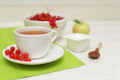 Tea and redcurrant, food background Stock Images