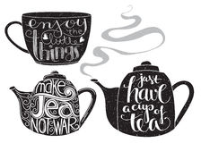 Tea related quotes lettering Royalty Free Stock Photos