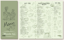 Tea Restaurant Menu Template. With hot fruit flavored ice sorts and spices utensil desserts sketch elements vector illustration Stock Photography