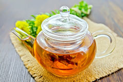 Tea of Rhodiola rosea in glass teapot on sacking Stock Images