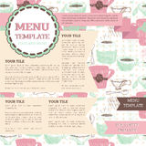 Tea room menu template. Can be used as web page, vector illustration Stock Image