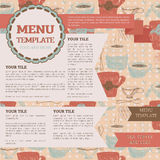 Tea room menu template. Can be used as web page, vector illustration Royalty Free Stock Images