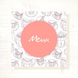 Tea room menu template with tea service in vector. Hand drawn illustration Stock Image