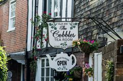 Tea Room in Rye in East Sussex. A beautiful cobbled street in the historic town of Rye in East Sussex. Rye is one of the most preserved middle aged village in stock image