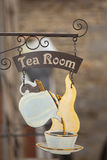 Tea room sign. Old tea room sign in a village royalty free stock photography