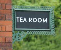 Tea Room Sign. A Vintage Cast Iron Railway Platform Tea Room Sign Stock Photo