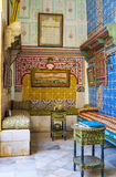 The tea room. SOUSSE, TUNISIA - SEPTEMBER 3, 2015: The scenic interrior  of tea room decorated with glazed tiles in Dar Essid mansion, on September 3 in Sousse Royalty Free Stock Photo