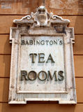 Tea rooms. Famous Babington's tea rooms advertised by a marble plate in Rome Spanish steps, Italy. Photograph taken on July, 2011 royalty free stock images