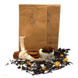 Tea with rose. Natural organic tea with rose, petals, spices and candle Royalty Free Stock Photos