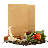 Tea with rose. Natural organic tea with rose, petals and spices Stock Photos