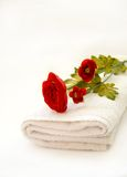 Tea Rose Bathroom. Crisp white bath towel and red tea rose flower to show natural healthcare and  cleansing spa Stock Photography