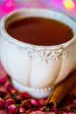 Tea with rose and cinnamon Stock Photo