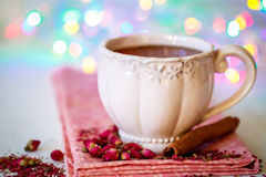 Tea with rose and cinnamon Royalty Free Stock Photos