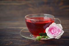 Tea rose flowers and tea Royalty Free Stock Photo