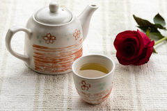 Tea and rose Royalty Free Stock Photography