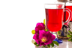 Tea with rose hips with flowers Stock Photos
