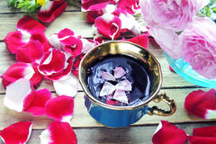 Tea with rose petals Stock Images