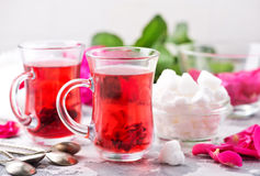 Tea with rose Stock Image