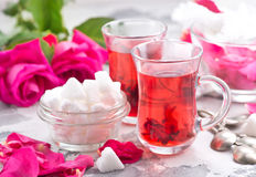 Tea with rose Royalty Free Stock Photography