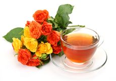 Tea and roses Royalty Free Stock Images