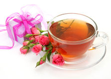 Tea and roses Stock Image