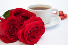 Tea, roses, chocolates Royalty Free Stock Photography