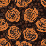 Tea roses and coffee seamless pattern. Vector Royalty Free Stock Photography