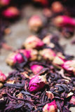 Tea roses and dried hibiscus flower Stock Photos