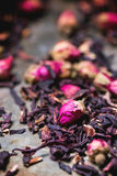 Tea roses and dried hibiscus flower Stock Images