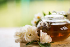 Tea with roses Stock Photos