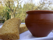 Tea and rusk on focus. Placed outside royalty free stock photo