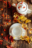 Tea in the rustic Chic style.  Tea Party.  Green tea in a cup an Stock Photo
