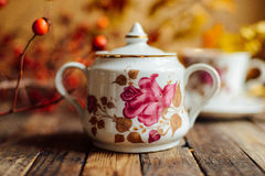 Tea in the rustic Chic style.  Tea Party.  Green tea in a cup an Royalty Free Stock Image