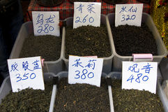 Tea for sale. Various tea's for sale in Chinatown, Bangkok, Thiland Royalty Free Stock Photos