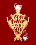 Tea, samovar banner. Design template for menu restaurant or cafe. Lettering vector illustration. Tea, samovar banner. Design template for menu restaurant or cafe Royalty Free Stock Images