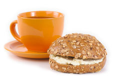 Tea and sandwich. With cottage cheese Stock Photography