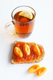 Tea sandwich with apricot jam Royalty Free Stock Photos
