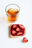 Tea sandwich with strawberry jam Stock Photography