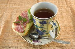 Tea and sandwiches Stock Image