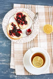 Tea and sandwiches. Lemon tea with jam sandwiches stock images