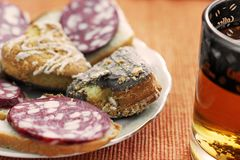 Tea and sandwiches. Food. Sausage Sandwiches royalty free stock images