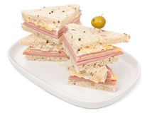 Tea sandwiches with ham and cheese Royalty Free Stock Photography
