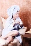 Tea after sauna Stock Images